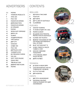 Sept/Oct 2016 Contents page and Advertisers